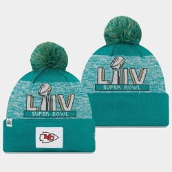 Männer New Era Kansas City Chiefs Aqua Super Bowl LIV Pom Wollmütze