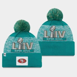 Männer New Era San Francisco 49ers Aqua Super Bowl LIV Pom Wollmütze