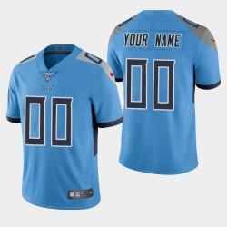 Tennessee Titans Custom 100. Saison Vapor Limited Trikots - Licht Blau