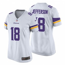 Vikings & 18 Justin Jefferson Weiß NFL Draft Pick-Spiel Trikot