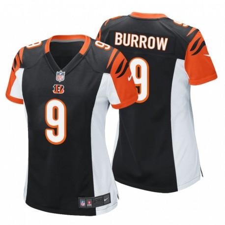 Bengals & 9 Joe Burrow Schwarz NFL Draft Pick-Spiel Trikot