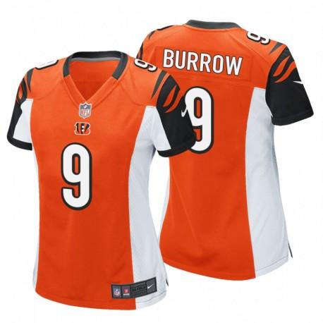 Bengals und 9 Joe Burrow orange NFL Draft Pick-Spiel Trikot