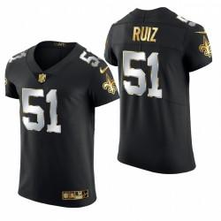 Saints Cesar Ruiz Golden Edition Trikot Schwarz Elite