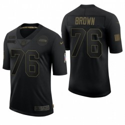 Seahawks Duane Brown-Gruß-Salute zum Servicetrikot Schwarz Limited