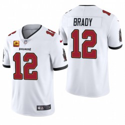 Buccaneers Tom Brady Trikot White Captain Patch Dampf Limited