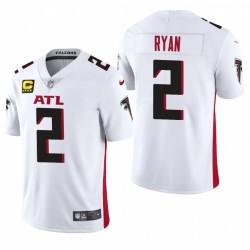 Falcons Matt Ryan Trikot Weiß Captain Patch Dampf Limited