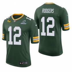 Packer Aaron Rodgers Trikot Green NFL Playoffs Captain Patch Classic Limited