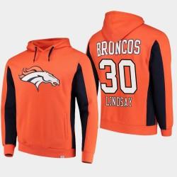 Fanatics gebrandmarkten Männer Denver Broncos und 30 Phillip Lindsay-Team Iconic PulloverHoodie - Orange