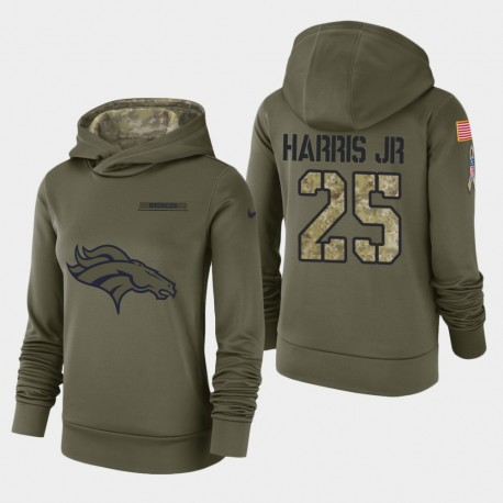 Frauen Denver Broncos und 25 Chris Harris Jr. 2018 Salute To Service Performance PulloverHoodie - Olive