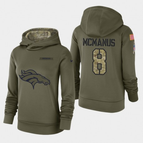 Frauen Denver Broncos & 8 Brandon McManus 2018 Salute To Service Performance PulloverHoodie - Olive