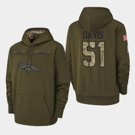 Männer Denver Broncos und 51 Todd Davis 2018 Salute To Service Performance PulloverHoodie - Olive