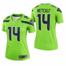 Frauen DK Metcalf Trikot Seahawks Legende Neon Grün