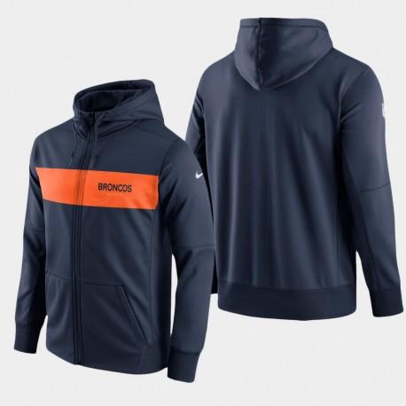 Männer Denver Broncos Team-Sideline Full-Zip Hoodie Leistung - Navy