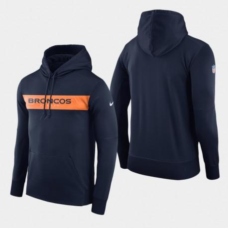 Männer Denver Broncos Team-Sideline Performance-PulloverHoodie - Navy