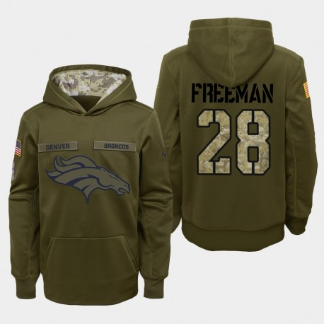 Jugend Denver Broncos und 28 Royce Freeman 2018 Salute To Service Performance PulloverHoodie - Olive