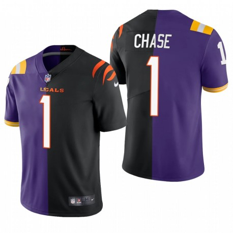NFL Draft Ja'Marr Chase Split Trikot Bengals lila Schwarz Dampf Limited