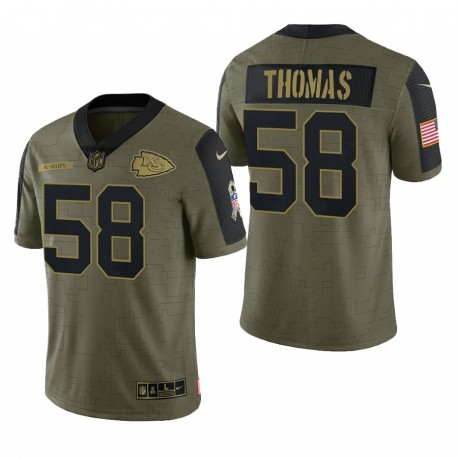 Chiefs Derrick Thomas Great to Service Trikot Olive Retired Player