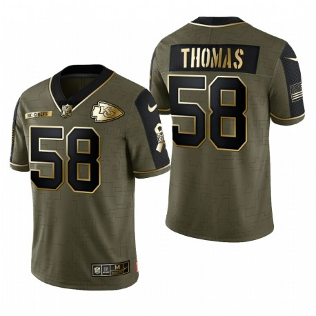 Derrick Thomas Great to Service Trikot Chiefs Olive Golden Limited