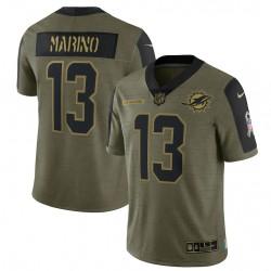 Dan Marino Miami Dolphins Nike 2021 Salute To Service Ausgeschiedener Spieler Begrenzt Trikot - Olive