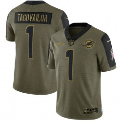 Tua Tagovailoa Miami Dolphins Nike 2021 Salute To Service Begrenztes Spieler Trikot - Olive