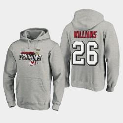 Männer Kansas City Chiefs & 26 Damien Williams Super Bowl LIV Champions Trophy Kollektion Umkleideraum PulloverHoodie - Grau