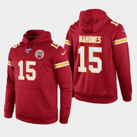 Männer Kansas City Chiefs und 15 Patrick Mahomes 100. Season Spiel Hoodie - Rot