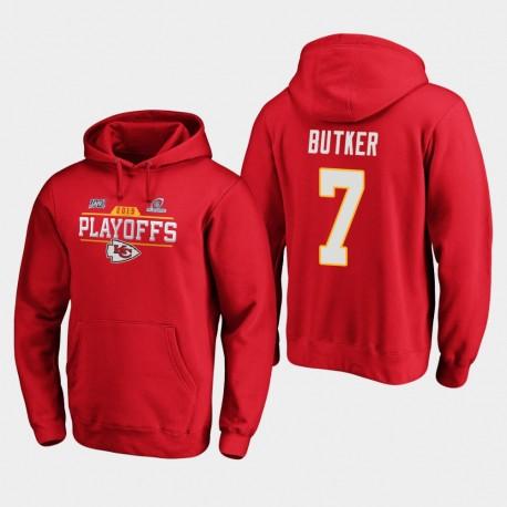 Männer Kansas City Chiefs Harrison Butker 2019 NFL Playoffs Bound Chip Schuss PulloverHoodie - Rot