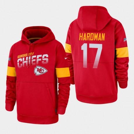 Männer Kansas City Chiefs & 17 Mecole Hardman 100. Saison Sideline-Team-Logo PulloverHoodie - Rot