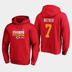 Männer Kansas City Chiefs Harrison Butker 2019 NFL Playoffs Bound Heimatstadt Checkdown PulloverHoodie - Rot