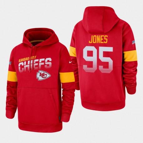 Männer Kansas City Chiefs und 95 Chris Jones 100. Saison Sideline-Team-Logo PulloverHoodie - Rot