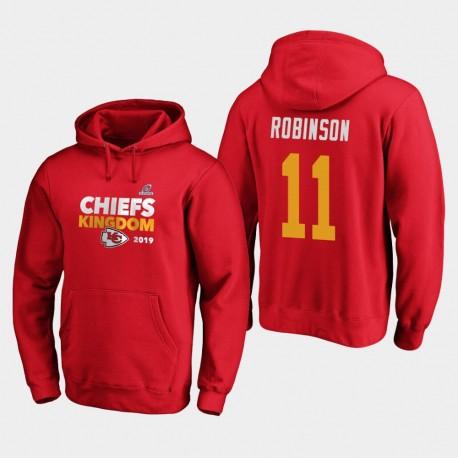 Männer Kansas City Chiefs Demarcus Robinson 2019 NFL Playoffs Bound Heimatstadt Checkdown PulloverHoodie - Rot