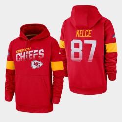 Männer Kansas City Chiefs und 87 Travis Kelce 100. Saison Sideline-Team-Logo PulloverHoodie - Rot