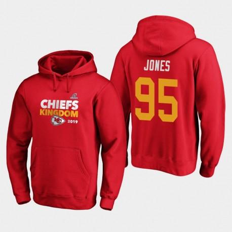 Männer Kansas City Chiefs Chris Jones 2019 NFL Playoffs Bound Heimatstadt Checkdown PulloverHoodie - Rot