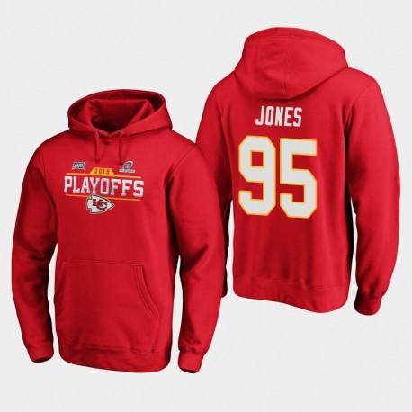 Männer Kansas City Chiefs Chris Jones 2019 NFL Playoffs Bound Chip Schuss PulloverHoodie - Rot