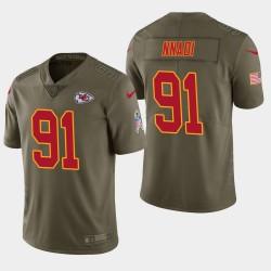 Männer Kansas City Chiefs und 91 Derrick Nnadi 2018 NFL Draft Salute to Service-Jersey - Olive