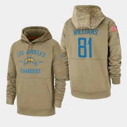 Männer Mike Williams Los Angeles Chargers 2019 Salute to Service-Sideline Therma PulloverHoodie - Tan