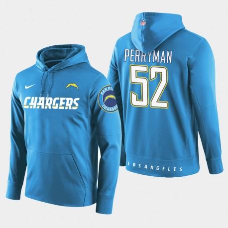 Männer Los Angeles Ladegeräte und 52 Denzel Perryman New Season Spieler PulloverHoodie - Blau