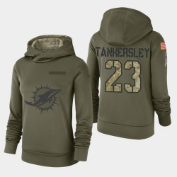 Frauen Miami Dolphins # 23 Cordrea Tankersley 2018 Salute To Service Performance PulloverHoodie - Olive