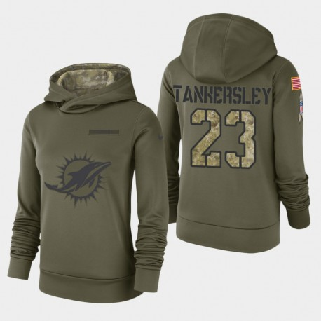 Frauen Miami Dolphins & 23 Cordrea Tankersley 2018 Salute To Service Performance PulloverHoodie - Olive