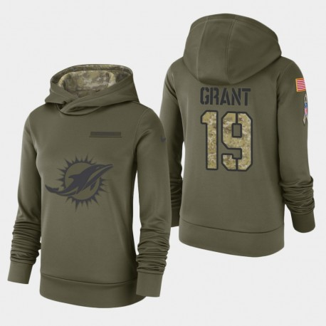 Frauen Miami Dolphins & 19 jakeem grant 2018 Salute To Service Performance PulloverHoodie - Olive