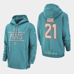 Männer Miami Dolphins # 21 Frank Gore Sideline Lockup PulloverHoodie - Aqua