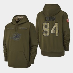 Männer Miami Dolphins # 94 Robert Quinn 2018 Salute To Service Performance PulloverHoodie - Olive
