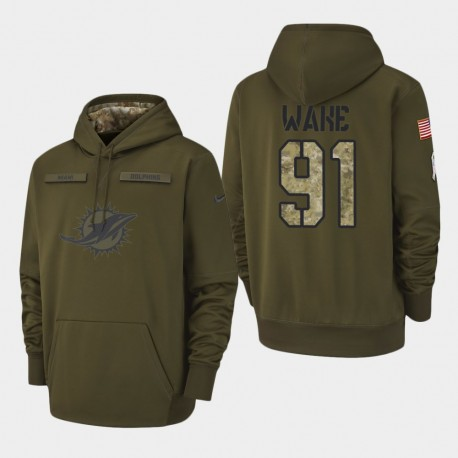 Männer Miami Dolphins & 91 Cameron Wake 2018 Salute To Service Performance PulloverHoodie - Olive