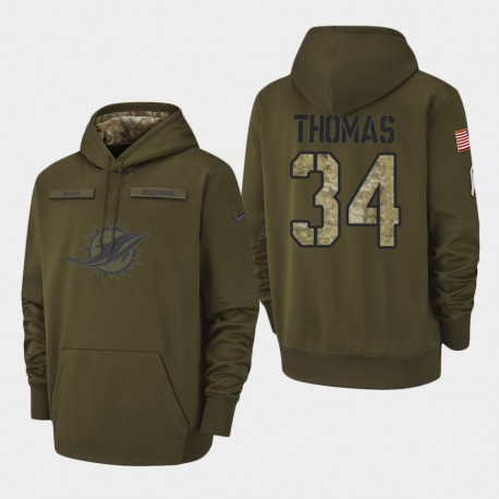 Männer Miami Dolphins & 34 Thurman Thomas 2018 Salute To Service Performance PulloverHoodie - Olive