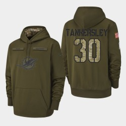 Männer Miami Dolphins # 30 Cordrea Tankersley 2018 Salute To Service Performance PulloverHoodie - Olive