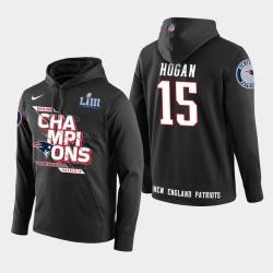 Männer New England Patriots und 15 Chris Hogan Super Bowl LIII Champion PulloverHoodie - Schwarz