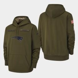 Männer New England Patriots Olive 2018 Salute To-Service Sideline Therma Leistung PulloverHoodie