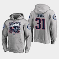 Männer New England Patriots und 31 Jonathan Jones Super Bowl LIII Champion Trophy PulloverHoodie - Grau