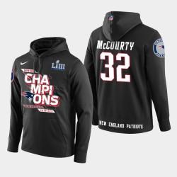 Männer New England Patriots und 32 Devin McCourty Super Bowl LIII Champion PulloverHoodie - Schwarz