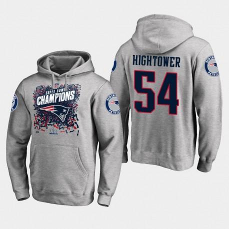Männer New England Patriots und 54 Dont'a Hightower Super Bowl LIII Champion Trophy PulloverHoodie - Grau